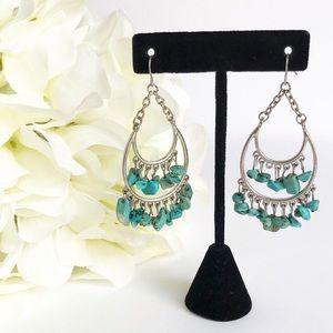 Southwest Boho Silver Tone Faux Turquoise Earrings